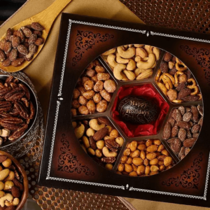 Engraved Tagua Nut Gift Basket (Happy Holidays)